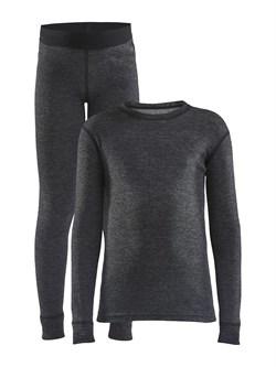 Комплект термобелья CRAFT Core Wool Merino детский Black - фото 21554